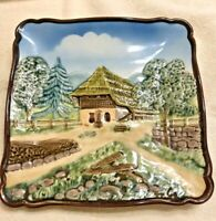 Vintage 1950s Majolica Embossed Pastoral Chalet Western Germany Plate