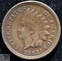 1863 Copper Nickel Indian Head Penny, Cent, Fine+ Details, Obverse Scratch C5147