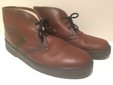Vtg. Bates Floaters Brown Leather Wool Lined Chukka Boots Shoes Men's 10