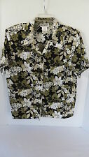 Womens Briggs Green/ Black Floral Layered Blouse Size Petite L