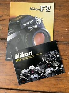 2 Original Old Factory Issue Brochures for Nikon F2 & Accessories Lenses  1970's
