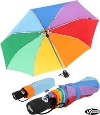 iX-brella Regenschirm Regenbogen Mini Taschenschirm Auf-Zu-Automatik stabil bunt