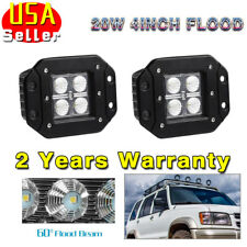 2PCS 20W Flood LED Flush Mount Work Light Driving Cube Pods Offroad SUV 4WD UTE