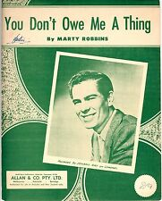 JOHNNY RAY - YOU DON'T OWE ME A THING - SHEET MUSIC - AUSTRALIA 1956 (RARE)