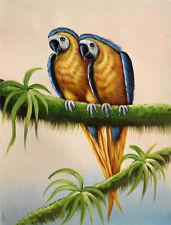 Original oil painting - BLUE & GOLD MACAWS Christian Petit - 42x32 cm