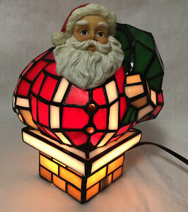 """Santa Claus In Chimney Tiffany Style Stained Glass Accent Lamp 8"""" Tall Christmas"""