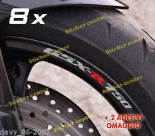 KIT 8 ADESIVI + OMAGGIO CERCHI MOTO STRISCE RUOTE SUZUKI GSXR GSX-R 750 BICOLORE