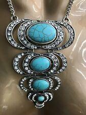 Statement Tribal Blue Howlite Necklace Aztec Cleopatra Ethnic Boho  Hippy Indian