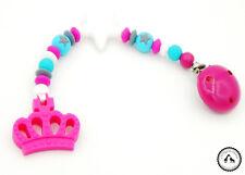 ♥ Beisskette aus Silikon ★ Krone in türkis/pink/weiss - Silikonkette ♥