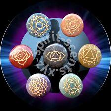 Chakra Disk Set- 7 X Engraved Semi-Precious stones/crystals-Reiki, Healing.