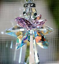 Big Rosaline Pink Quad Winged Guardian Angel Suncatcher m/w Swarovski Crystal