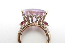 18kt ROSE GOLD FANCY-CUT 18.75 DIAMOND PINK TOURMALINE & AMETHYST ESTATE RING