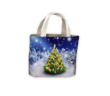 Árbol de Navidad nevado Noche Bolso De Compras Bolso para toda la vida