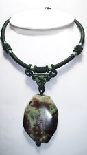 Rainforest Jasper Pendant Necklace Silk Wrapped Chinese Knot Cord