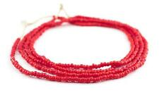 Bright Red White Heart Beads 4mm Ivory Coast African Round Glass 26 Inch Strand