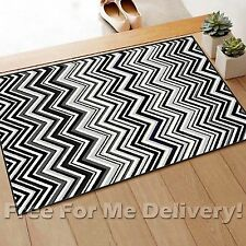 JUNE CHEVRON DESIGN BLACK GREY MODERN FLOOR RUG MAT (XXS)57x100cm *FREE DELIVERY