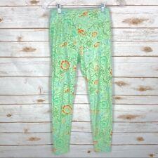 Women's LuLaRoe Leggings Lime Mint Green Orange Floral Stretch OS One Size
