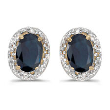 14k Yellow Gold Oval Sapphire And Diamond Earrings