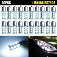 20PCS White 1156 BA15S 18SMD LED RV Camper Trailer 1141 Interior Light Bulbs 12V