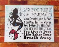 Mermaid Sign Home Decor Painted Canvas Wall Decor