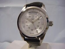 SWISS ARMY AUTOMATIC SILVER DIAL DAY & DATE LEATHER STRAP MEN'S WATCH 24149 NEW