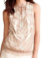 $198 Anthropologie Embroidered Bubble Hem Tank Medium 6 8 Taupe Top Sequins NWT