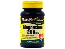 100 TABLETS MAGNESIUM 200 mg Support nervous system heart health