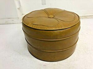 Mid Century Modern HASSOCK STOOL round yellow vinyl 1950s 60s vintage foot gold