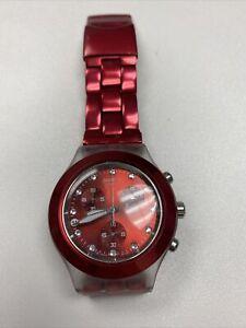 "Swatch Watch Irony Chrono Aluminum ""Diaphane"" SVCK4044AG Burgundy/Red AG2008 NOS"