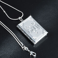 925 SILBER PL. Medaillon zum öffnen Medallion Foto Anhänger Koran Islam Kette