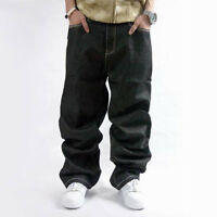 Jeans Da Uomo Larghi Denim Hip Hop Abbigliamento street P Diddy Nero sj W30-W46