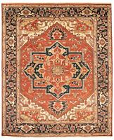 """Hand-knotted Carpet 8'0"""" x 9'10"""" Bordered, Geometric, Traditional Wool Rug"""