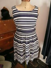 Vintage 50s Style Rockabilly Jive Swing Blue White Stripe Prom Dress 10