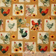 BonEful Fabric Cotton Quilt Yellow Chicken House Wire Cage Sun*Flower Farm SCRAP