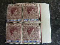 BAHAMAS POSTAGE STAMP SG156B 5/- BLOCK OF 4 MARGINAL UN-MOUNTED MINT