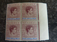BAHAMAS POSTAGE STAMP SG156B 5/- BLOCK OF 4 MARGINAL UN MOUNTED MINT