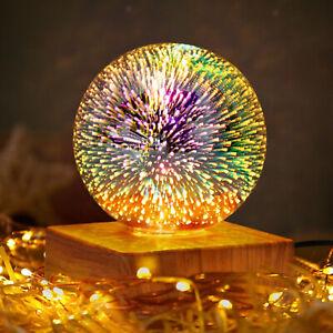 USB Powered LED 3D Fireworks Glass Ball Night Light Holiday Decor firework