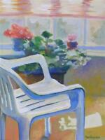 """MARIANNE MARCHEGIANO (AMERICAN, 20TH C.) """"THE RESIN CHAIR"""" OIL ON PAPER"""