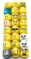 LEGO LOT OF 24 MINIFIGURE HEAD PIECES VARIETY CASTLE TOWN SPACE STAR WARS MIX