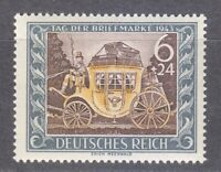 Germany 1943 MNH Mi 828 Sc B215 Mail Coach. Stamp Day **