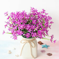 4 Pcs Artificial Fake Flower Purple Small Orchid Home Decoration Outdoor Floral