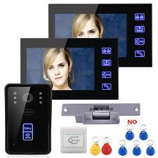 """7"""" Wired RFID Video Door Phone Intercom Doorbell 2 Monitors+Electric Strike Lock"""