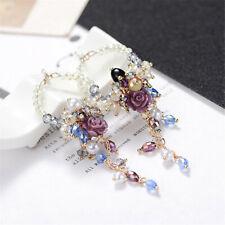 New 2019 Korean Style Metal Flower Crystal Pearl Stud Women Dangle Hoop Earrings