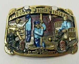 VTG 1986 The American Firefighter No Sleep Tonight Belt Buckle Fireman HEROS....