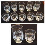 VINTAGE Libbey Christmas Drinking Glass Tumblers WINTER WHITE HOLLY  Set of 10