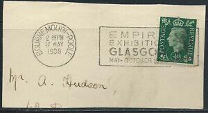 Great Britain #235(7) 1937 0.5p dark green GEORGE VI BOURNEMOUTH-POOL MAY 17 '38