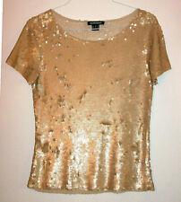Ellen Tracy Stunning 100% Silk Gold Sequin Short Sleeve Scoopneck Pullover Top-S