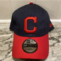 Cleveland Indians New Era 9Forty MLB Fitted Hat Dad Cap Blue Baseball Size Large
