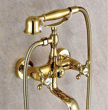 Gold Finish Wall Mount Clawfoot Bath Tub Faucet Tap w/ Handheld Spray Shower