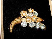 Vintage goldtone sparkly rhinestone floral flower cornucopia brooch